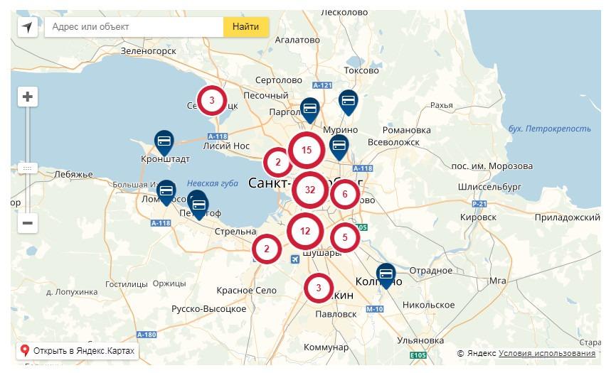 Отделения АБ Россия в Санкт Петербурге и Ленинградской области