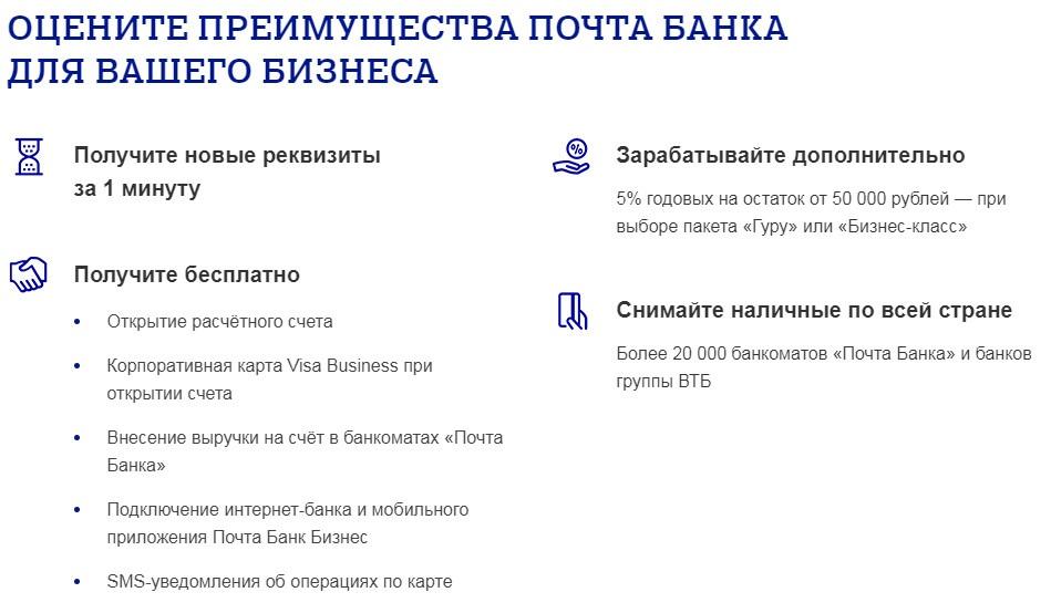 Открытие счета для бизнеса в Почта Банк
